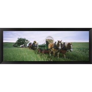 'Historical reenactment, North Dakota' Framed Panoramic Photo