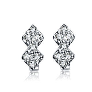 Collette Z Sterling Silver Cubic Zirconia Kids Mini Hoop Earrings