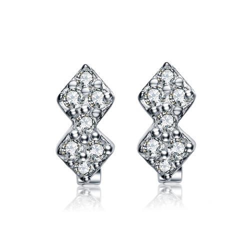 Collette Z Sterling Silver Cubic Zirconia Kids Mini Hoop Earrings