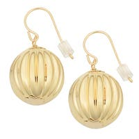Oro Forte 14k Yellow Gold Fluted Bead Drop Earrings