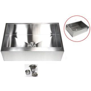 Stainless Steel 33-inch 16-gauge Farmhouse Single Bowl Flat Apron Kitchen Sink