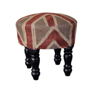Handmade Round Wooden Kilim Footstool (India)