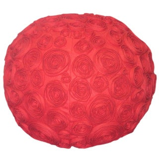Handmade Red Floral Ottoman Pouf (India)