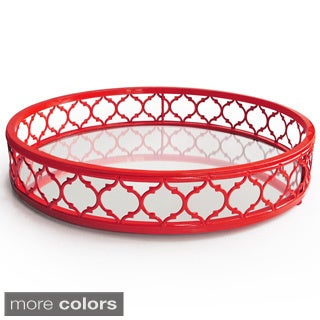 Round Ornate Metal and Mirror Tray