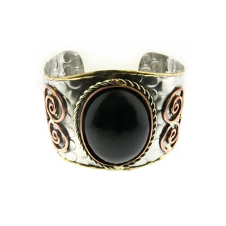 Handmade Oversized Brass and Copper Gemstone Stainless Steel Cuff Bracelet (India)