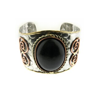 Handmade Oversized Brass and Copper Black Stone Stainless Steel Cuff Bracelet (India)
