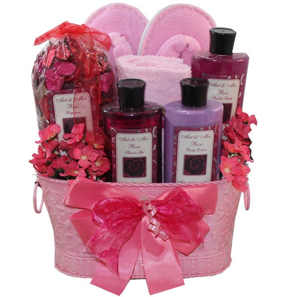 Perfectly Pampered Pink Spa Bath and Body Gift Basket