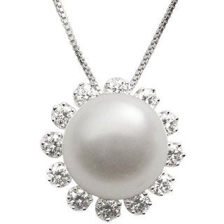 Pearls For You Sterling Silver White Freshwater Pearl and Cubic Zirconia Pendant Necklace (12-12.5 mm)