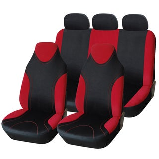 Adeco 7-piece Universal Fit, Black/Red Interior Decoration Car Vehicle Front Seat Cover Set