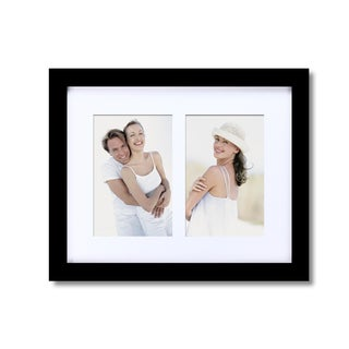 Adeco 2-opening Black Matted Wooden Wall Collage Photo Frame