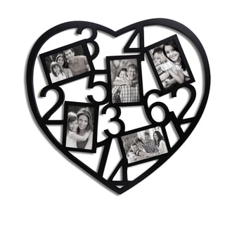 Adeco 5-Opening Black Wooden Heart Collage Photo Frame