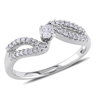 Miadora 14k White Gold 1/4ct TDW Diamond Engagement Ring