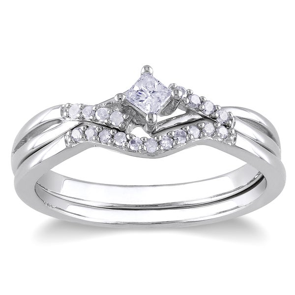 Miadora Sterling Silver 1/5ct TDW Diamond Bridal Ring Set