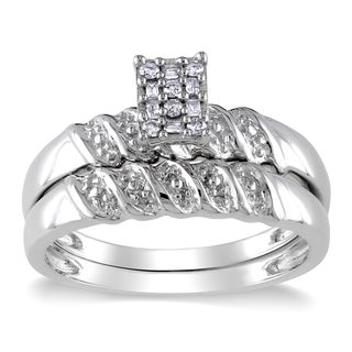 Miadora Sterling Silver 1/10ct TDW Baguette and Round-cut Diamond Cluster Bridal Ring Set