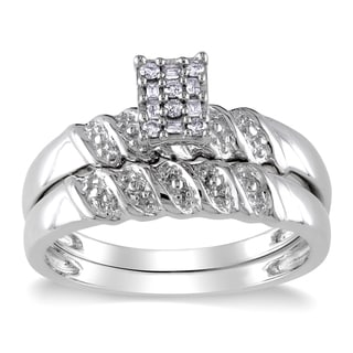 Miadora Sterling Silver 1/10ct TDW Baguette and Round-cut Diamond Cluster Bridal Ring Set (G-H, I2-I3)
