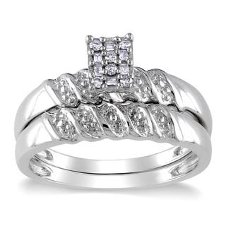 Miadora Sterling Silver 1/10ct TDW Baguette and Round-cut Diamond Cluster Bridal Ring Set|https://ak1.ostkcdn.com/images/products/8979087/Miadora-Sterling-Silver-1-10ct-TDW-Diamond-Bridal-Ring-Set-H-I-I2-I3-P16186285.jpg?impolicy=medium