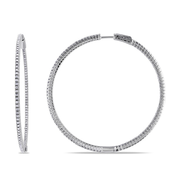 Miadora Sterling Silver 1ct TDW Diamond Thin Hoop Earrings