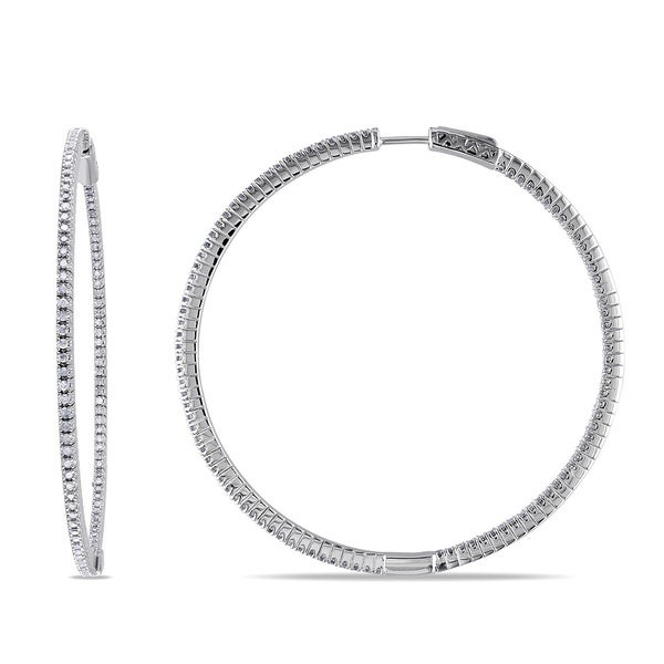 Miadora Sterling Silver 1ct TDW Diamond Thin Hoop Earrings