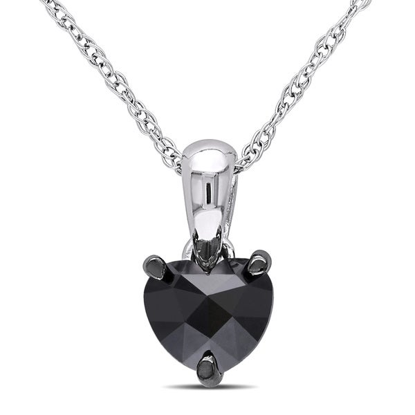 Miadora 10k White Gold 1/2ct TDW Black Diamond Heart Solitaire Necklace