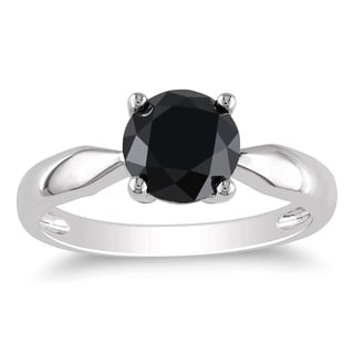 Miadora 10k White Gold 2ct TDW Black Diamond Solitaire Pinched Shank Engagement Ring