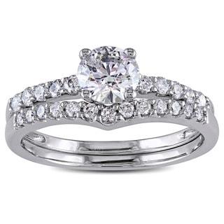 Miadora Signature Collection 14k White Gold 1 1/6ct TDW Diamond Bridal Ring Set