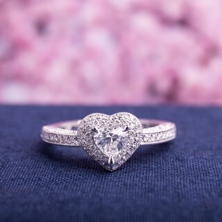 Link to Miadora Signature Collection 14k White Gold 3/4ct TDW Diamond Heart Ring Similar Items in Wedding Rings