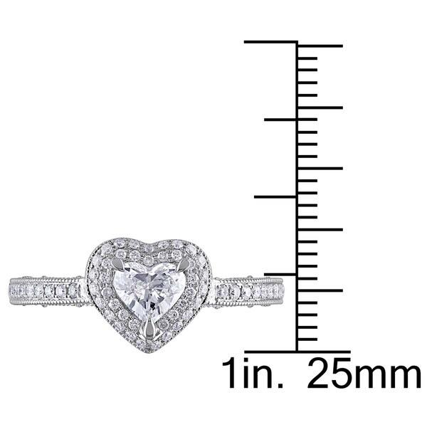 Miadora Signature Collection 14k White Gold 3/4ct TDW Diamond Heart Ring