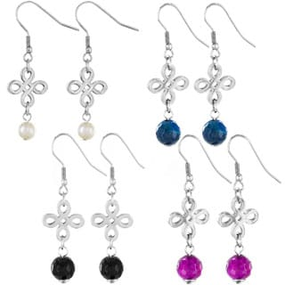 Elya Stainless Steel Signature Dangle High Polish Earrings