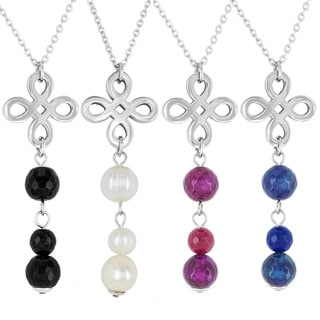 ELYA Stainless Steel Signature Gemstone Drop Necklace