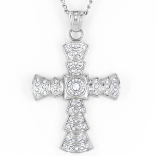 Stainless Steel Cubic Zirconia Cross Pendant Necklace
