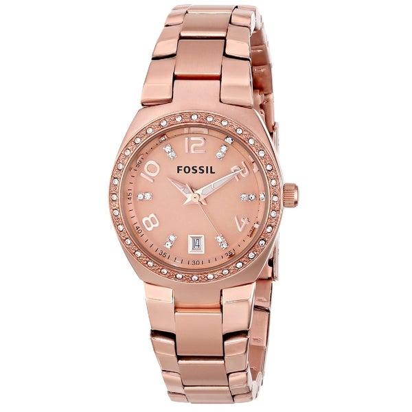 Fossil Women's AM4508 'Serena' Rose Goldtone Stainless Steel Watch - Gold