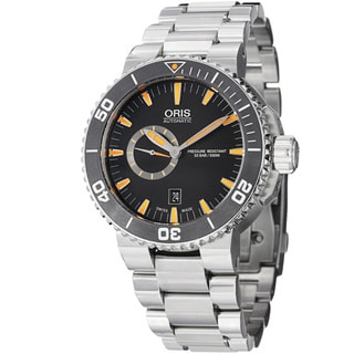 Oris Men's 743 7673 4159 MB 'Aquis' Black Dial Stainless Steel Automatic Watch