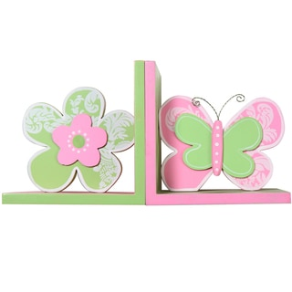 Butterfly and Flower Decorative Wood Bookends (Set of 2)