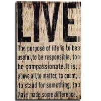 Adeco Decorative, Plaque Black, Beige Distressed-Look 'Live' Wall Hanging Sign