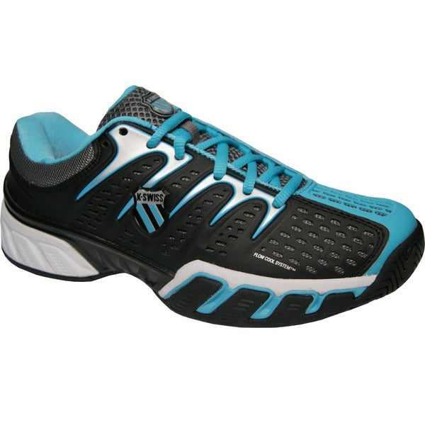 4b7e253c4985 Shop K-Swiss Women s  BigShot II  Black  Fiji Blue Tennis Shoes ...