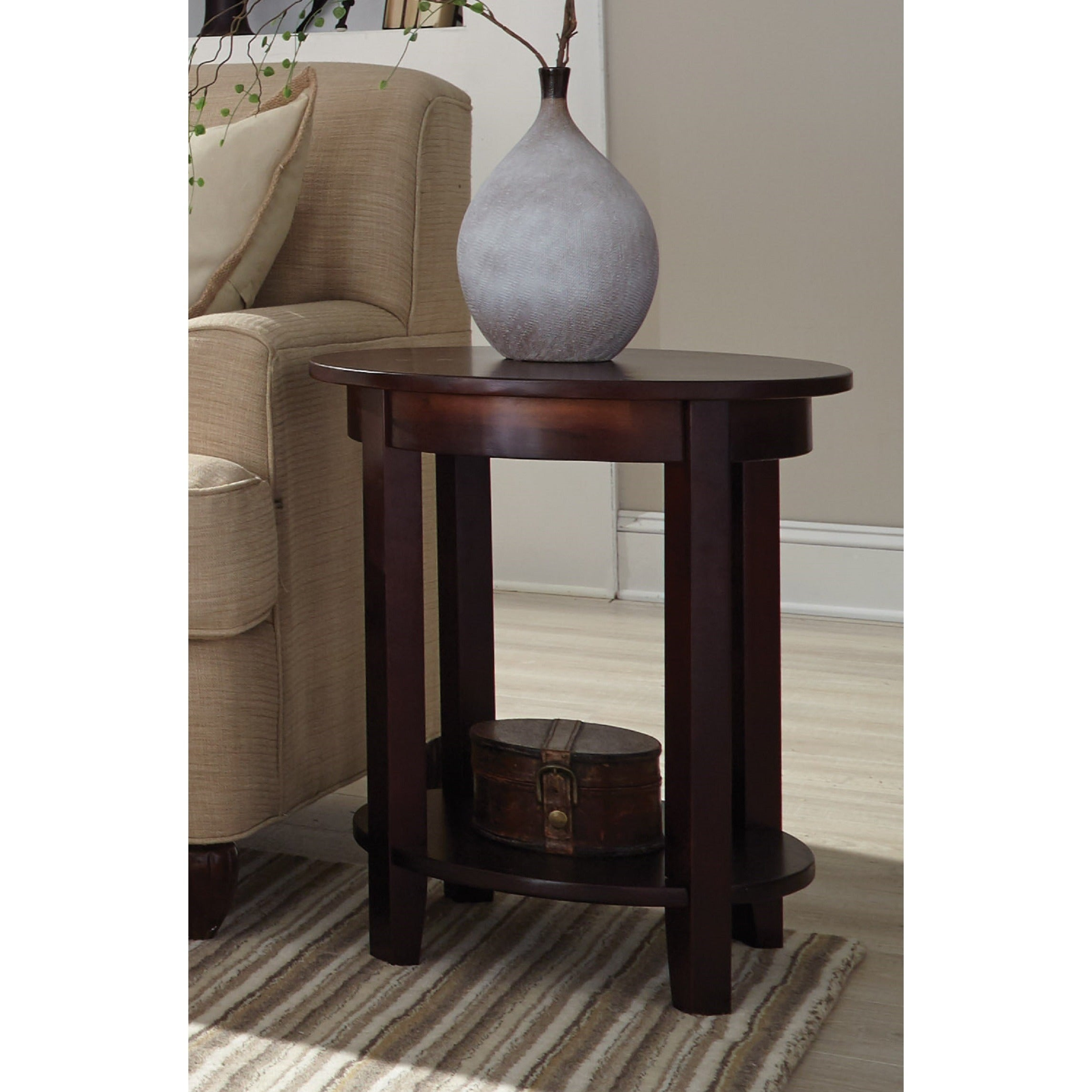 Shop Copper Grove Angelina Round End Table With Shelf