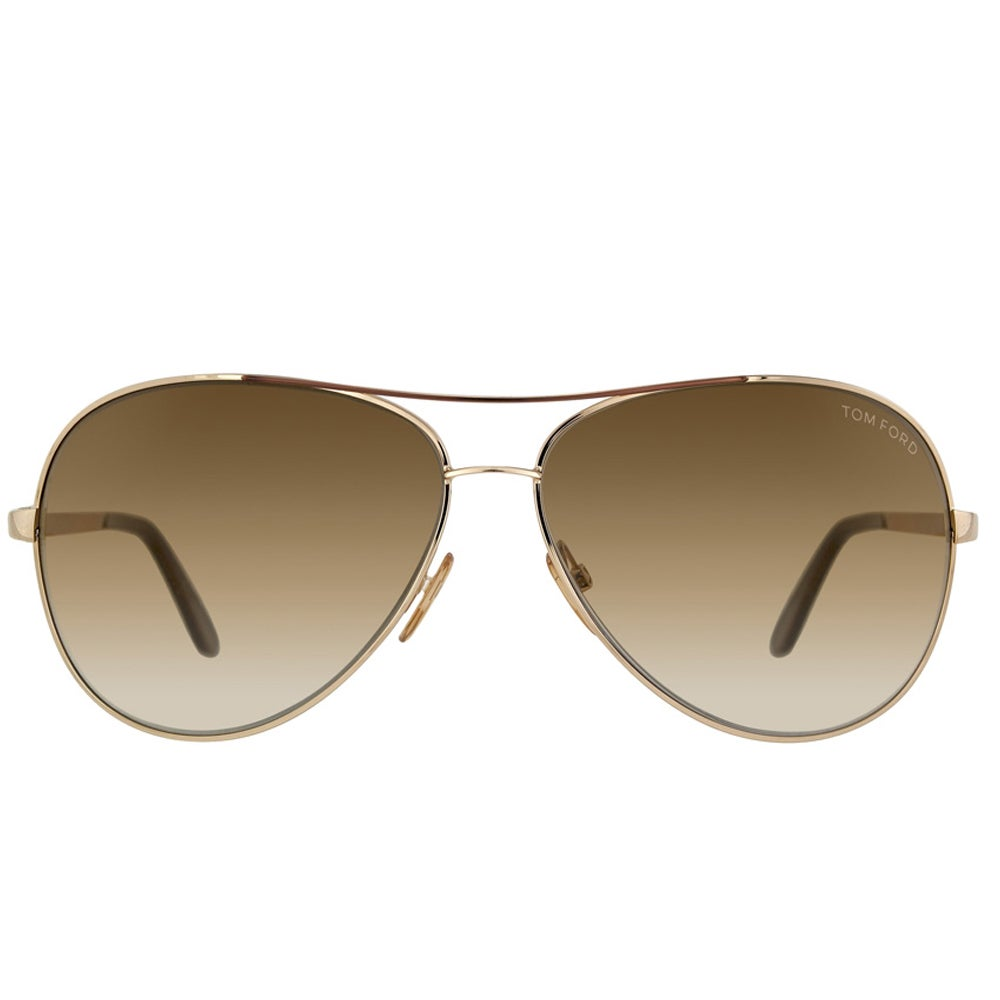 44a3a4fc9b38 Tom Ford Unisex 'TF 35 Charles 772' Goldtone Metal Aviator Sunglasses