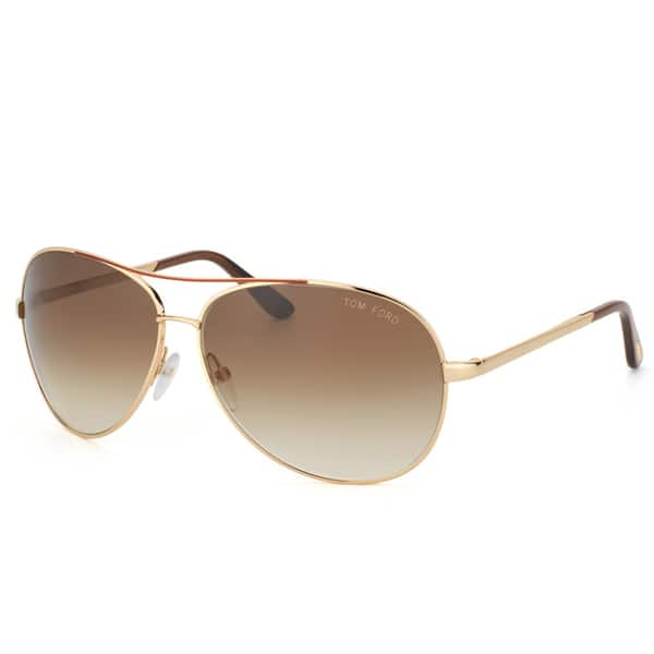 0888feea36 Tom Ford Unisex  TF 35 Charles 772  Goldtone Metal Aviator Sunglasses