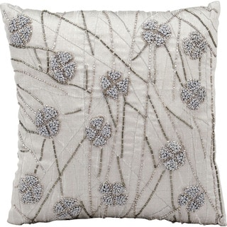 Michael Amini French Knot Flowers Silver/Grey Throw Pillow (12-inch x 12-inch) by Nourison