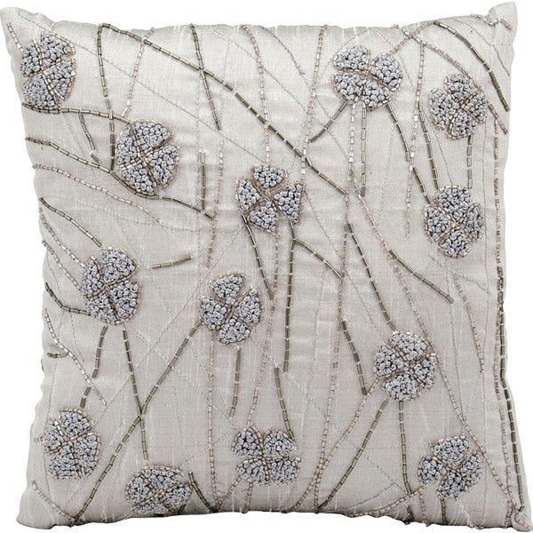 Mina Victory French Knot Flowers Silver/ Grey 12 x 12-inch Throw Pillow by Nourison