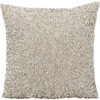 Michael Amini Sequins and Seed Beads Silver Throw Pillow (18-inch x 18-inch) by Nourison