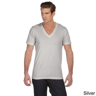 Canvas Men's Jersey Deep V-neck T-shirt (Option: XS,SILVER)