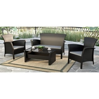 CorLiving Cascade Black Rope Weave 4-piece Patio Set