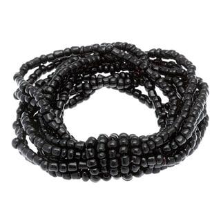 Black Glass Bead 10-strand Stretch Bracelet