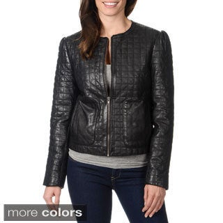 Whetblu Women's Quilted Genuine Leather Jacket - Free Shipping ...