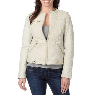 Whet Blu Women's Cream Quilted Leather Jacket