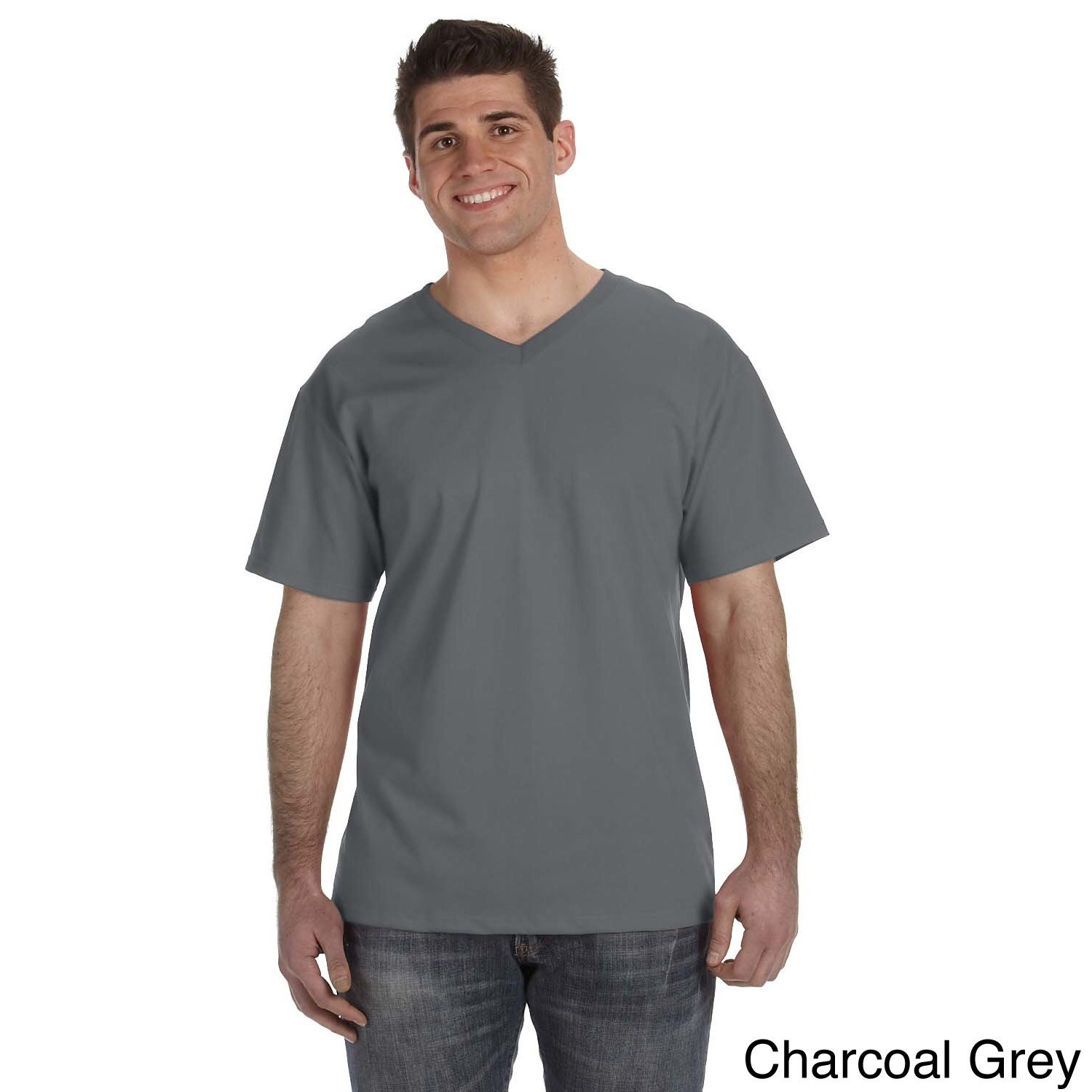 Fruit of the Loom Men's Heavyweight Cotton V-neck T-shirt...