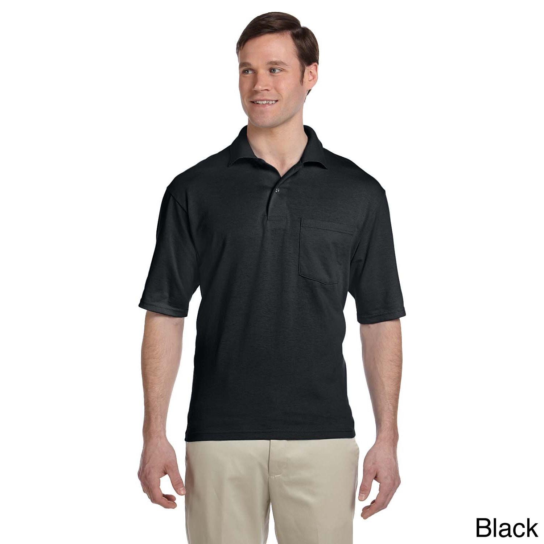 Jerzees Jerzees Mens Clean finished Pocket Polo Sport Jersey Black Size XXL