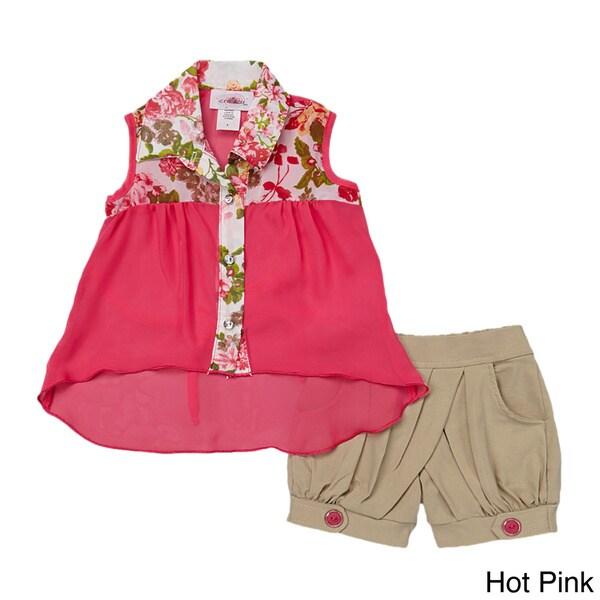 Toddler/ Girls Floral Button-up Tank and Tan Shorts Set