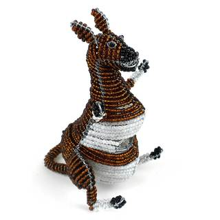Handmade Small Beaded Kangaroo Figurine (Zimbabwe)